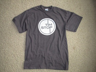 Tim Stop T-shirt (white on grey)